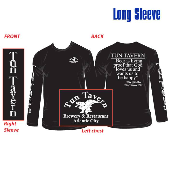 tun tavern merchandise - ben franklin quote tshirt long sleeve with tun eagle logo