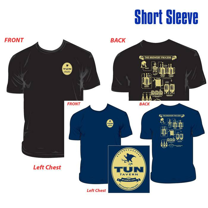tun tavern merchandise - tshirt brewing process depicted short sleeve